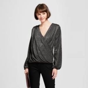 A New Day Long Sleeve Metallic Faux Wrap Top